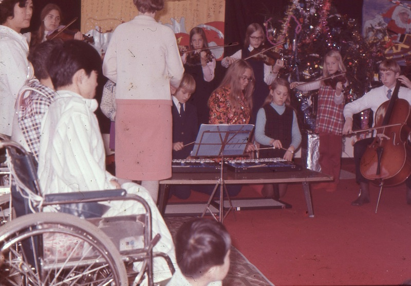 Performing as a group at home for disabled