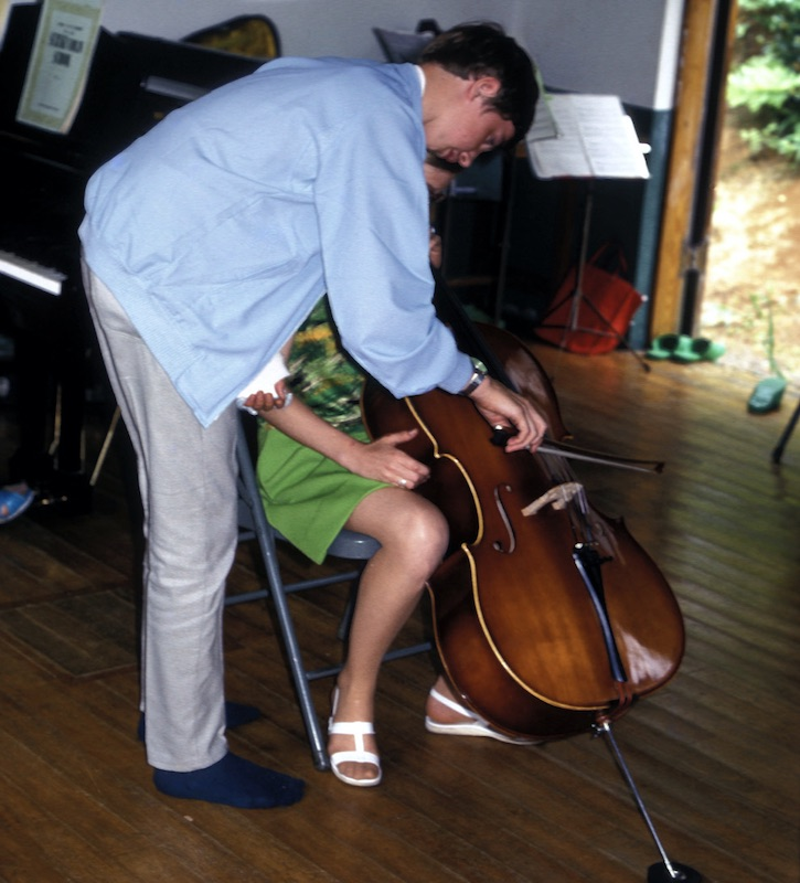 Larry playing half cello with cast